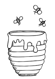 desenho de abelha com pote de mel