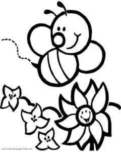desenho de abelha no jardim