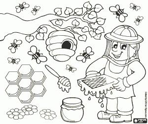 desenho de colmeia de abelhas para pintar