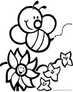 imagem de abelha na flor para colorir